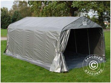 Tente Abri Voiture Garage PRO 3,6x6x2,68m PE, avec couverture de sol, Gris