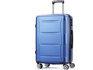 Bagage à main Topdeal Valise de voyage rigide extensible avec serrure TSA, poignée télescopique et 4 roues, valise trolley, valise de voyage (bleu business, M / L / XL)