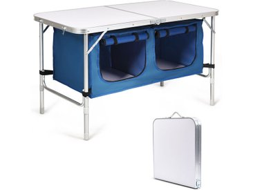 COSTWAY Table de Camping Pliable avec 2 Compartiments de Rangement Bleu Réglable en Hauteur Table Jardin Compacte pour Pique-Nique