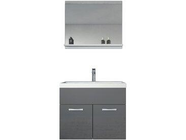 Meuble de salle de bain de Montreal 02 - Armoire de rangement Meuble lavabo evier Meuble lavabo Gris brilliant 60x35 cm