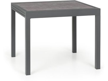 Blumfeldt Tenerife Table de jardin extensible 90 x 90 cm aluminium verre marbre