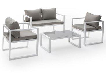 Salon de jardin IBIZA en tissu gris 4 places - aluminum blanc