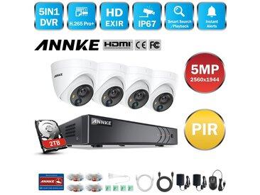 ANNKE 5MP Super HD Système de caméra de sécurité DVR 8CH 5-en-1 avec caméras PIR extérieures 4 * 5MP - Disque Dur de 2TB inclus