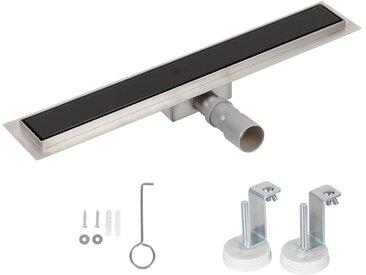 Bc-elec - HFD-G-60 Caniveau de douche 60cm en inox, verre noir, sterfput de douche, hauteur ajustable 67-92mm