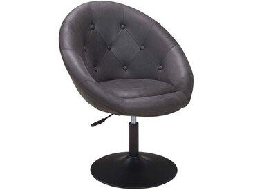 Fauteuil oeuf capitonné design tissu aspect cuir velours chaise bureau gris foncé