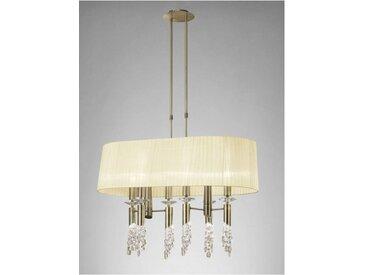 Suspension Tiffany 6+6 Ampoules E27+G9 ovale, laiton antique avec Abat jour crème & cristal transaparent
