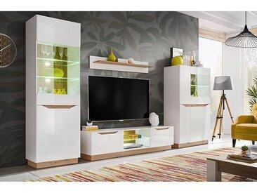 LONDI | Unité murale style scandinave 4 pcs | Éclairage LED inclus | Mur TV | Ensembles meubles salon séjour | Meuble bas TV | Blanc/Chêne - Blanc/Chêne
