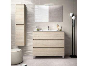 Meuble de salle de bain sur le sol 100 cm marron Caledonia avec lavabo en porcelaine | Avec colonne, miroir et lampe LED