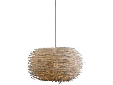 Lampe suspension rurale en rotin blanc - Hachette 45 Qazqa Design, Moderne Luminaire interieur Rond