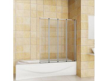 Aica Sanitaire - Pare baignoire 100x140cm en verre securit pivotante à 180° 4 volets