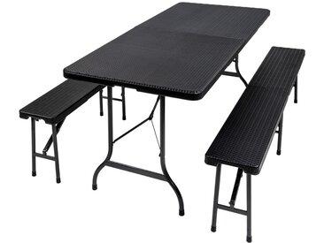 1 Table et 2 Bancs de Jardin Pliants 179 cm x 74 cm x 72 cm Noir