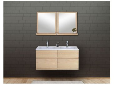 Ensemble Salle De Bain Chêne 120 Cm Meuble + Vasque + 2 Miroirs Enio