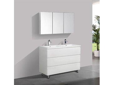 Meuble salle de bain design double vasque VERONA largeur 120 cm, blanc laqué