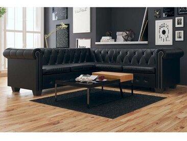 Canapé d'angle Chesterfield 5 places Cuir synthétique Noir HDV09932 - Hommoo