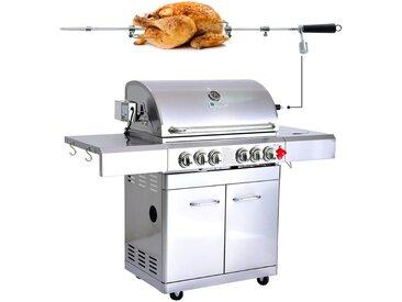 GREADEN BBQ Grill Barbecue À Gaz INOX DÖNER- 4 BRÛLEURS+ 1 KIT RÔTISSOIRE + 1 FEU LATÉRAL et Thermomètre, 22KW, Grille/Plancha/Réchaud