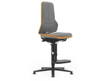 Siège d'atelier NEON, avec patins et repose-pieds, Supertec, noir/orange