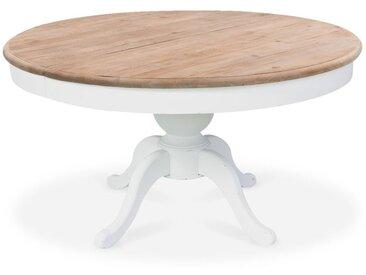 Intensedeco - Table ronde extensible en bois massif SIDONIE blanc