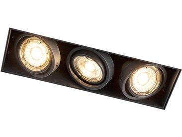 Pivot et inclinaison noir spot intégré - Oneon 3 Trimless Qazqa Design, Industriel / Vintage, Moderne Cage Lampe Luminaire interieur