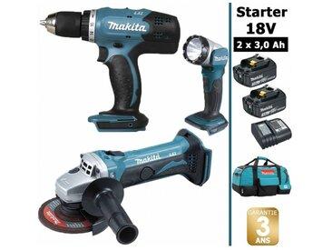 Pack Makita Makita Starter 18V: Perceuse 42Nm DDF453 + Meuleuse 115mm DGA452 + Lampe torche DEADML802 + 2 batteries 3Ah + sac MAKITA