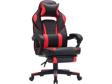 Songmics - Fauteuil gamer, Chaise gaming, Siège de bureau réglable, avec repose-pieds télescopique, ergonomique, mécanisme basculent, appui-tête, support lombaire, charge 150 kg, Noir et rouge OBG73BRV1 - Schwarz-rot