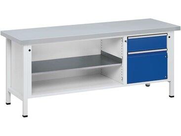Etabli, stable - 1 tiroir 180 mm, porte 360 mm - revêtement en tôle d'acier, extraction partielle