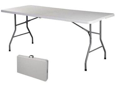 COSTWAY Table de Camping Table en Acier Pliable Table Pliante Transportable 72 x 30 x 29 cm Blanche