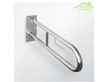 Barre d'appui relevable HELP en acier brossé avec support papier toilette