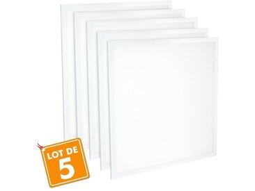 Lot de 5 Dalles 600x600 lumineuse LED PMMA Transfo sans scintillement 40W (340W) | Blanc froid 6500K