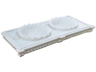 Lavabo en marbre balnc deux trous, lacées L130xPR56xH15 cm