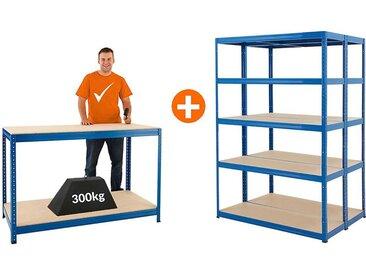 Mega Deal | 2x étagères métalliques pour charges lourdes - Profondeur 45 cm et 1x établi