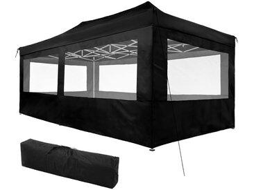 Tonnelle de Jardin Terrasse Pliante Autoportée Réglable 6 x 3 m Structure en Aluminium à 4 Parois Noir + Sac de Transport