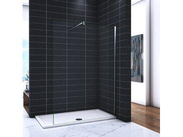 OCEAN Paroi de douche 160x200cm en 8mm verre avec vitrification nano(anticalcaire) livré avec une barre carrée 140cm