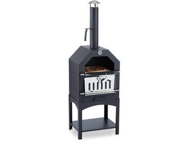 Klarstein Pizzaiolo Four à bois / charbon fumoir & pierre à pizza grille acier