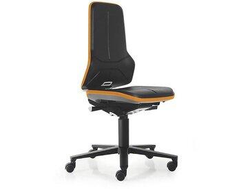 Siège d'atelier NEON, assise en mousse intégrale, noir/orange