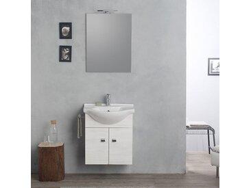 Armoire Murale 58Cm Avec Lavabo, Miroir Et Série Easy Chêne Blanc Clair