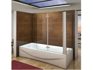 Pare baignoire 100x140cm en verre anticalcaire pivotante à 180degré et une paroi de douche en 70x140cm