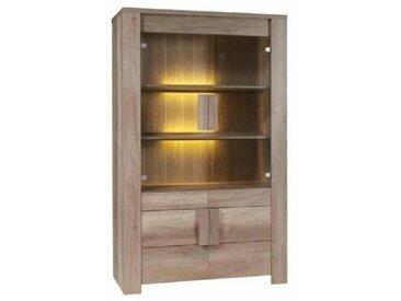 Vitrine, argentier, vaisselier FARRA 4 portes + LED. Meuble contemporain idéal pour votre salon ou salle à manger. - Marron