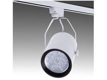 Spot LED Sur Rail Monophasé 9W 900Lm 30.000H Raelynn | Noir - Blanc chaud (PL218013-CW-A)