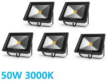 5×Anten 50W Projecteur LED Extérieur Spot LED Ultra-Mince IP65 Étanche Éclairage de Sécurité Puissant Lampe Blanc Chaud 3000K
