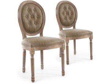 Lot de 2 chaises de style médaillon Louis XVI Bois patiné & Simili capitonné taupe