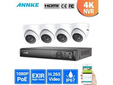 ANNKE Kit caméra de surveillance extérieur 8CH 1080p NVR +2 MP 4 caméras dome vision nocturne 100ft – sans disque dur