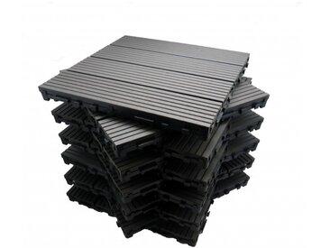 Pack dalle de terrasse 1m² bois composite modular (11 pièces 30 x 30 cm) - Coloris - Gris carbone, Largeur - 30 cm, Longueur - 30 cm, Surface couverte en m² - 1