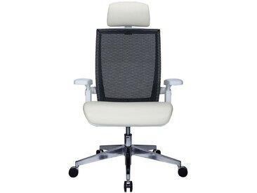 Chaise pivotante de bureau Traction - avec dossier respirant et appuie-tête, crème - Coloris: crème