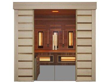 Sauna prestige infrarouge et vapeur Hybrid Combi Access - Holl's - 4 places et zone libre de Ø150cm