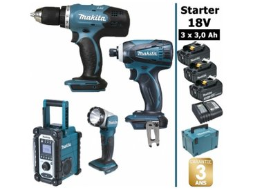 Pack Starter Makita 18V: Perceuse 42Nm DDF453 + Visseuse à choc 160Nm DTD146 + Radio DMR108 + Lampe torche DEADML802 + 3 batteries 3Ah + Coffret Makpac