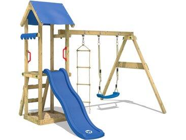 Aire de jeux WICKEY TinyCabin avec toboggan blue, balançoire et bac à sable