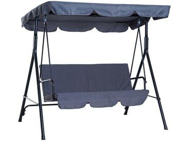 Balancelle de jardin 3 places toit imperméabilisé inclinaison réglable coussins assise et dossier 1,72L x 1,1l x 1,52H m acier noir polyester gris