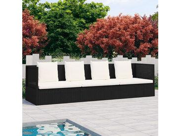 Canapé de jardin avec coussin et oreillers Résine tressée Noir