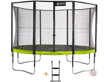 Kangui - Trampoline de jardin rond 430 cm + filet de sécurité + échelle PUNCHI Vert 430 - Vert
