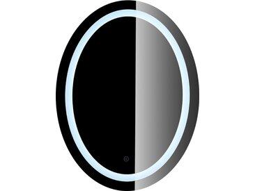 JEOBEST®Miroir de Maquillage Miroir Rond Mural + Éclairage LED et Interrupteur Tactile 80*60*4.5cm